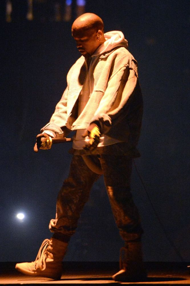Kanye West performs during his