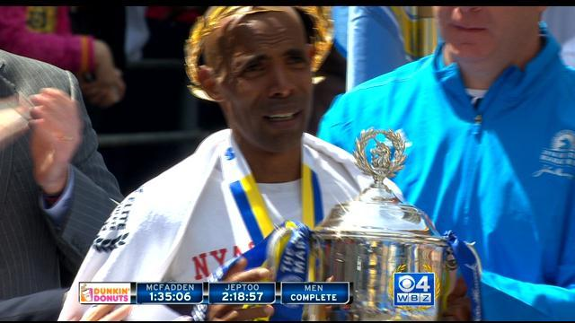 Boston Marathon Award Ceremony For American Meb Keflezighi