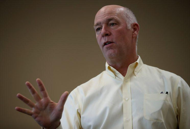 Republican congressional candidate Greg Gianforte speaks to supporters on May 24, 2017, in Missoula, Montana