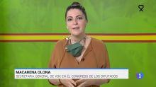 """""""Tremenda secuencia"""": Aplauso a TVE por lo que se vio en el 'Telediario' tras esta imagen de Macarena Olona (Vox)"""