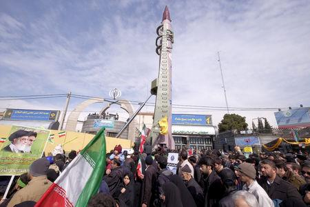 FILE PHOTO: Iranian-made Emad missile is displayed during a ceremony marking the 37th anniversary of the Islamic Revolution, in Tehran