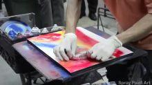 Spray paint artist creates mind-blowing artwork in minutes