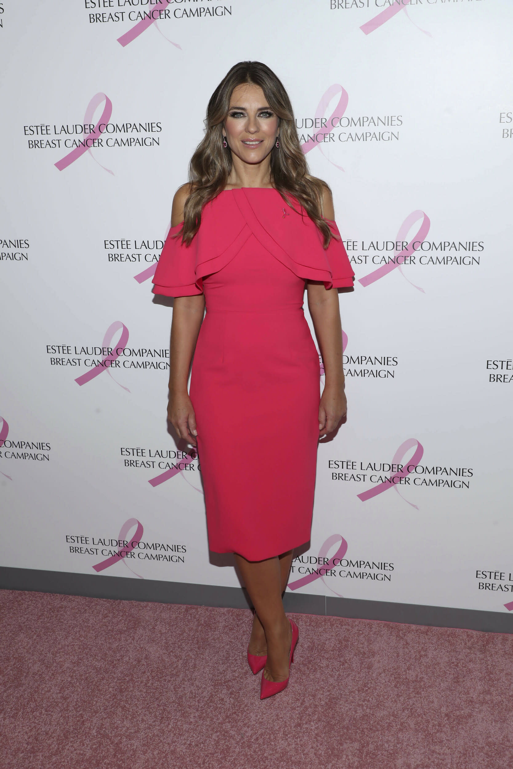 Photo by: John Nacion/STAR MAX/IPx 2018 10/1/18 Elizabeth Hurley at The Estee Lauder Companies Breast Cancer Campaign in New York City.