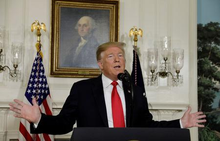 FILE PHOTO: President Donald Trump delivers remarks on border security and the U.S. government shutdown in Washington