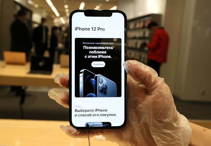MOSCOW, RUSSIA - OCTOBER 23, 2020: An iPhone 12 Pro is on display at a re:Store shop in Petrovka Street, as Apple launches iPhone 12 and iPhone 12 Pro sales in Russia. Alexander Shcherbak/TASS (Photo by Alexander Shcherbak\TASS via Getty Images)
