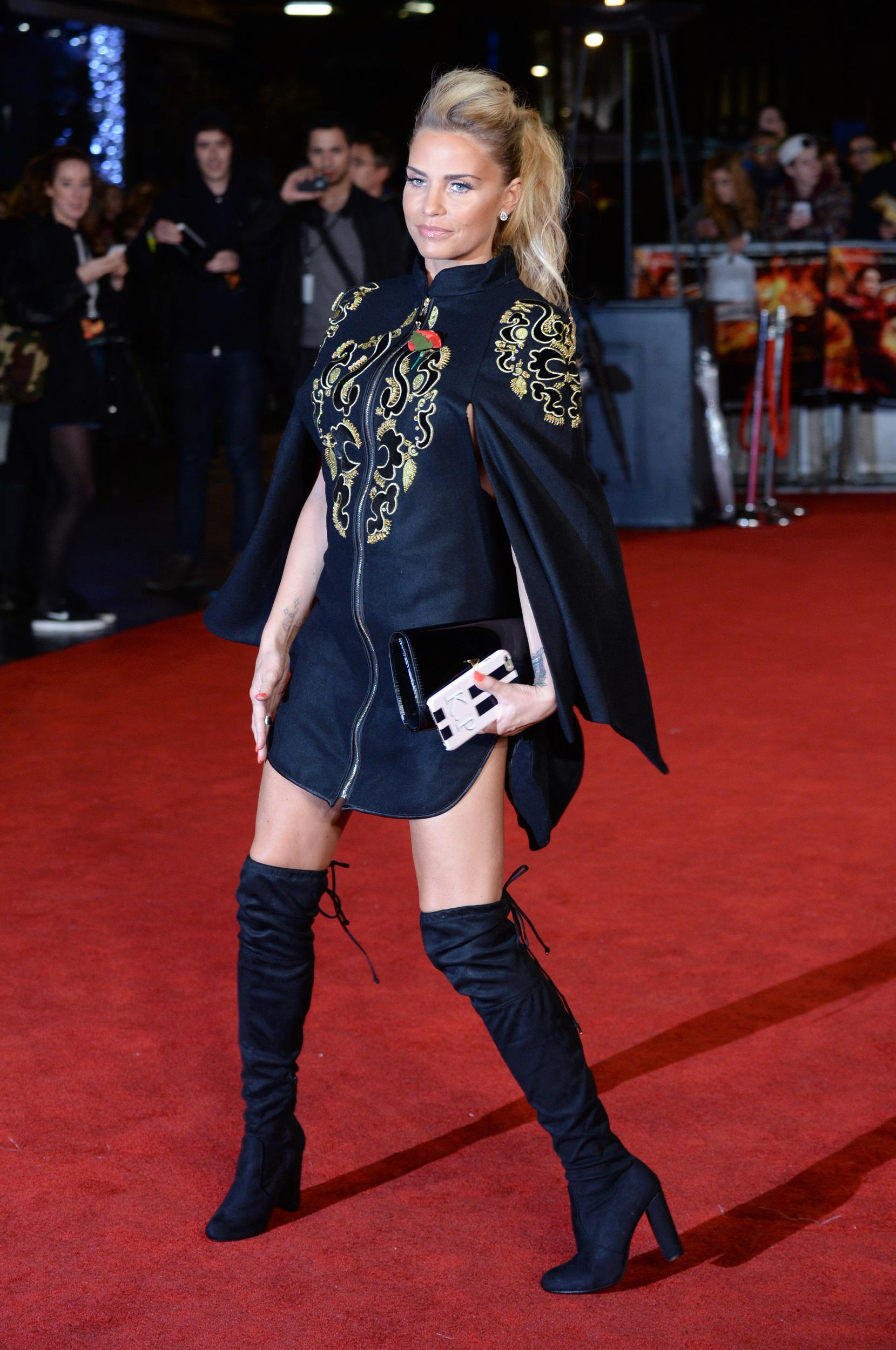 Katie Price attending the UK premiere of The UK Premiere of The Hunger Games: Mockingly Part 2 at the Odeon Leicester Square in London.