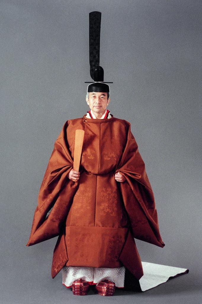 Japanese Emperor Akihito in a full ceremonial dress before his enthronement in Tokyo (AFP Photo/Handout)