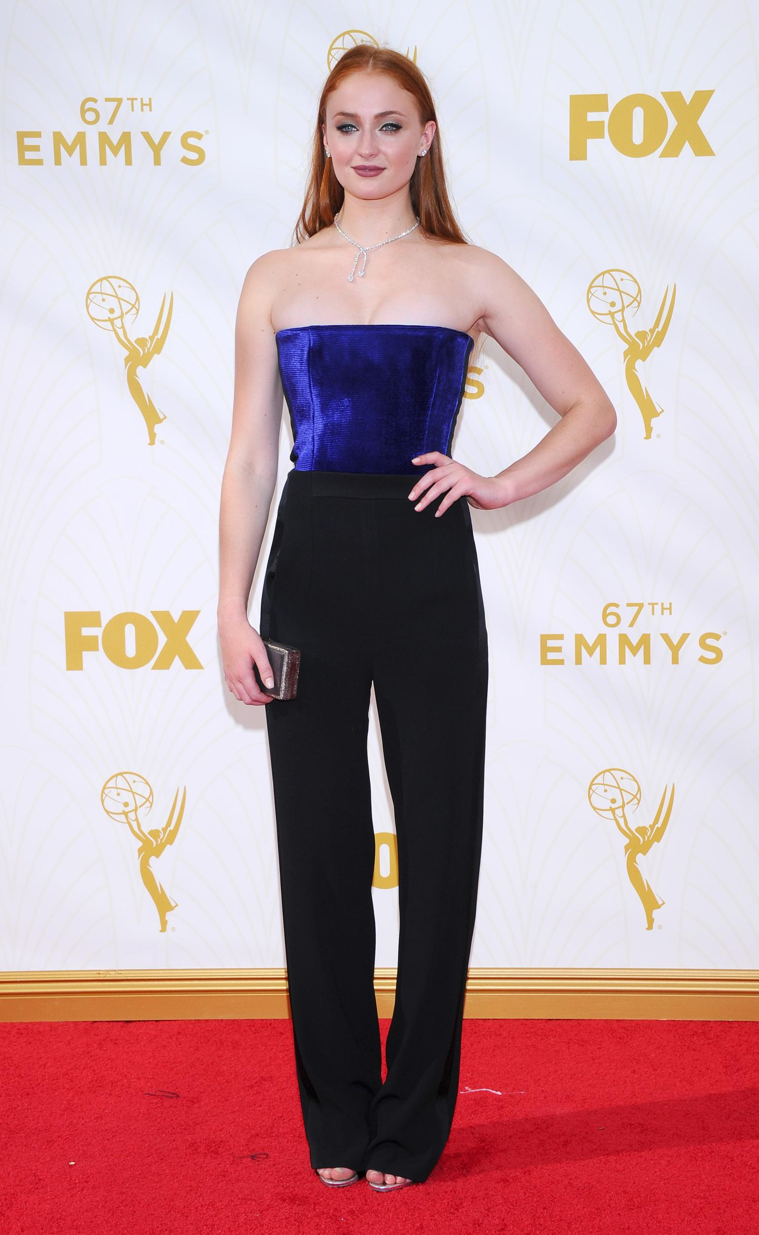 IMAGE DISTRIBUTED FOR THE TELEVISION ACADEMY - Sophie Turner arrives at the 67th Primetime Emmy Awards on Sunday, Sept. 20, 2015, at the Microsoft Theater in Los Angeles. (Photo by Vince Bucci/Invision for the Television Academy/AP Images)