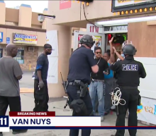 TV reporter tries to stop LA police arresting black store owners and good Samaritans instead of looters