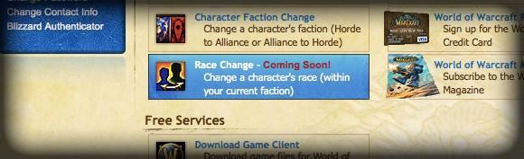 "Race changes ""coming soon"""