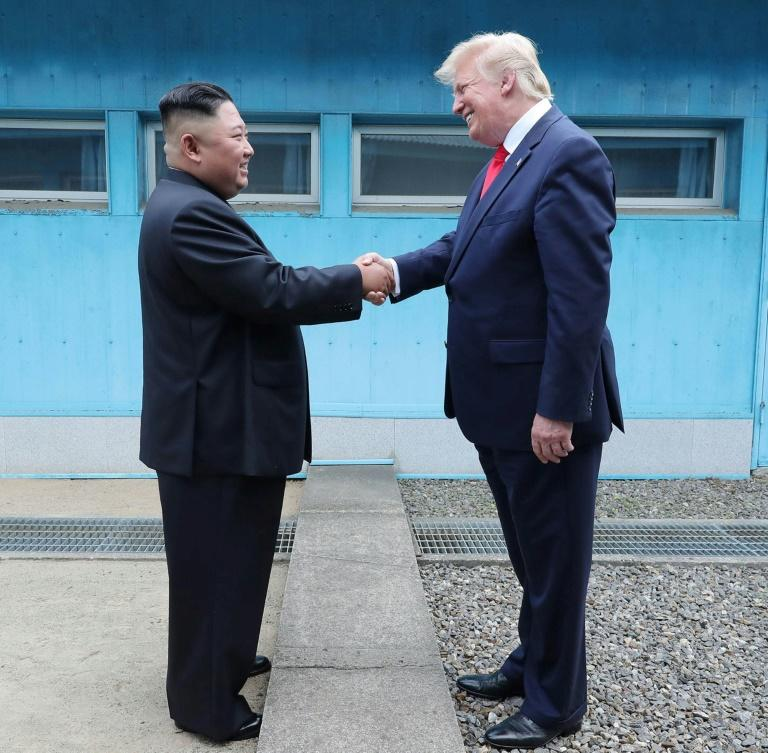The encounter at the border truce village of Panmunjom was the third meeting between Kim Jong Un and Donald Trump (AFP Photo/KCNA VIA KNS)