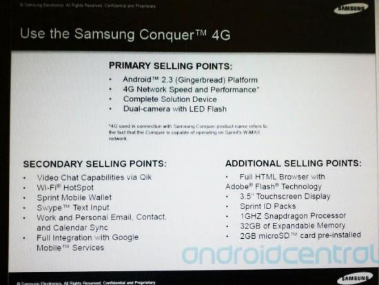 Are Sprint's employees getting the lowdown on the Samsung Conquer 4G?