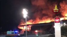 Flames Engulf Shopping Center in Treviso Province