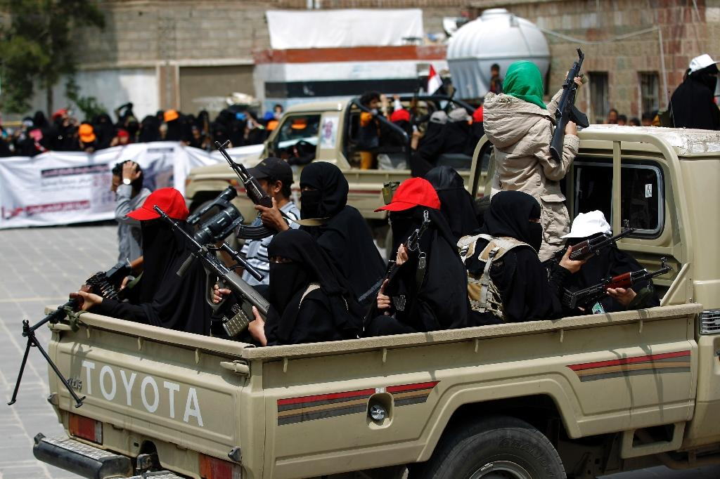 Yemeni female fighters supporting the Shiite Huthi rebels are seen September 6, 2016, whom the United States and Saudi Arabia have accused Iran of arming, though Tehran denies the claims