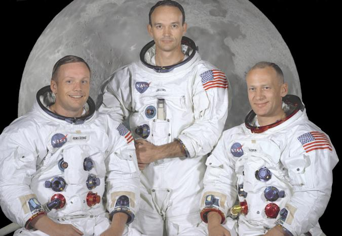 Apollo 11 - NASA, 1969. The Apollo 11 crew, from left: Commander Neil A. Armstrong, Command Module Pilot Michael Collins, and Lunar Module Pilot Edwin E. Artist NASA. (Photo by Heritage Space/Heritage Images via Getty Images)