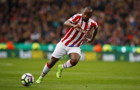 Stoke City's Saido Berahino in action