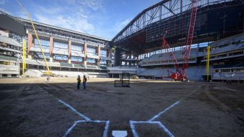 Construction at Rangers new ballpark catches fire