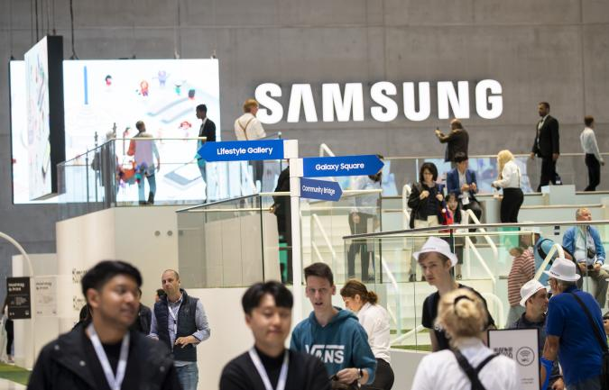 Visitors at the Samsung boot during the international electronics and innovation fair IFA in Berlin on September 11, 2019. (Photo by Emmanuele Contini/NurPhoto via Getty Images)