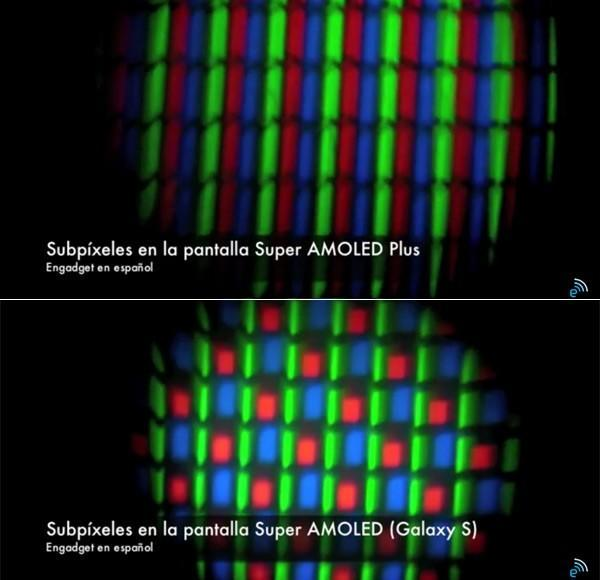 Galaxy S II and Galaxy S screens compared at the subpixel level (video)