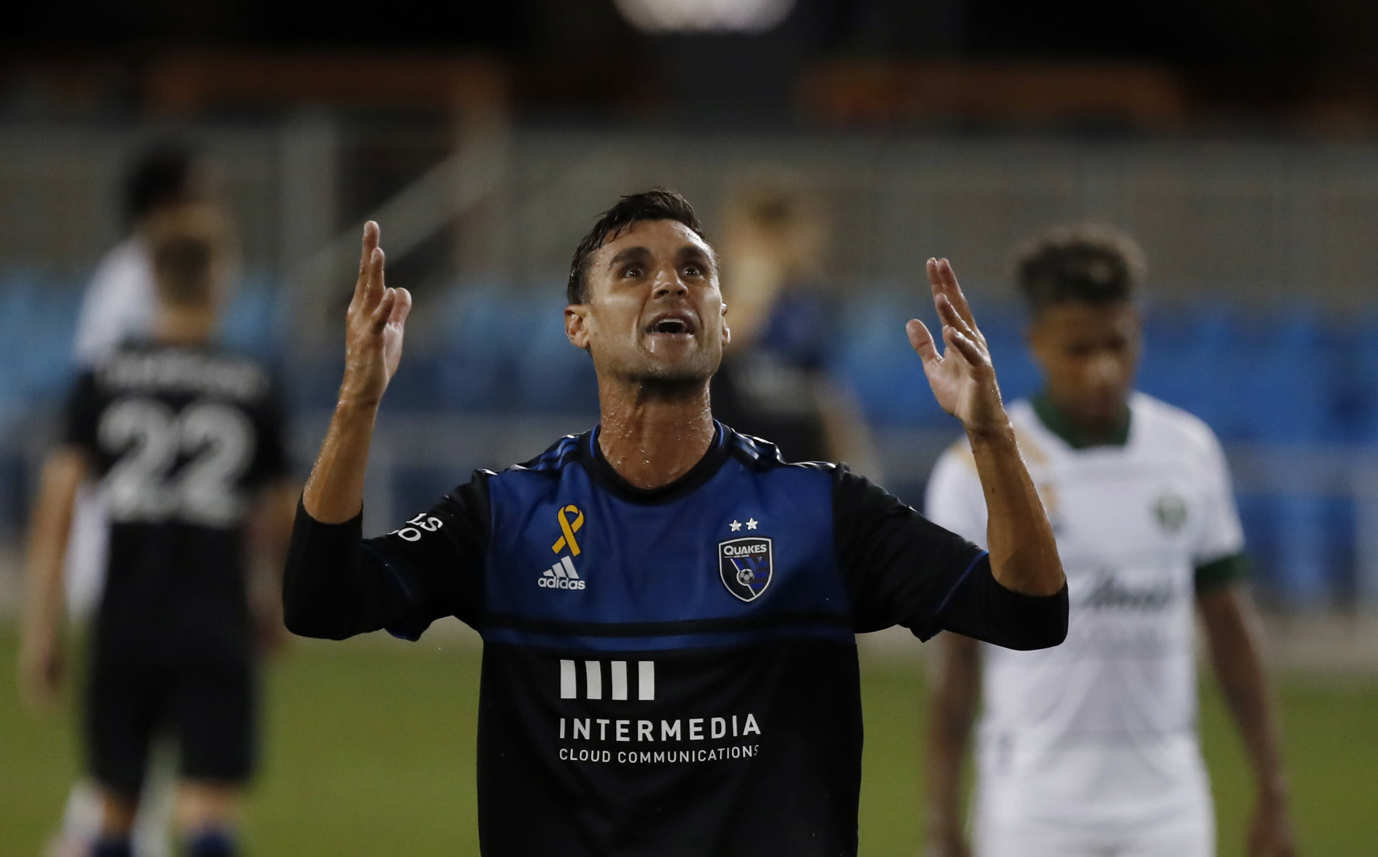San Jose Earthquakes forward Chris Wondolowski reacts during the second half of the team's MLS soccer match against the Portland Timbers on Wednesday, Sept. 16, 2020, in San Jose, Calif. (AP Photo/Josie Lepe)
