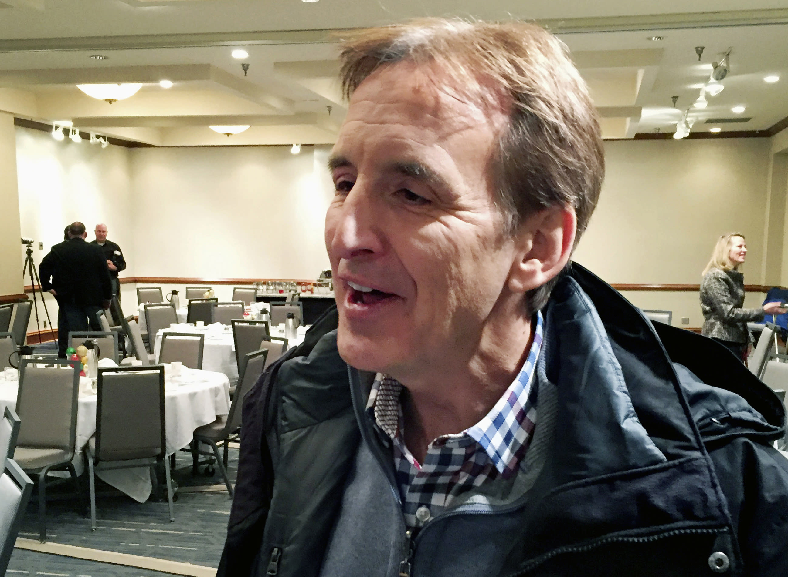 FILE - In this Dec. 8, 2017, file photo, former Minnesota Gov. Tim Pawlenty speaks after a Chamber of Commerce breakfast in St. Louis Park, Minn. The ranks of the forgotten Republicans are growing. They are members of Congress, governors and state party leaders who have been left behind by President Donald Trump's Republican Party. Some, like former Minnesota Gov. Tim Pawlenty, were forced out. (AP Photo/Steve Karnowski, File)