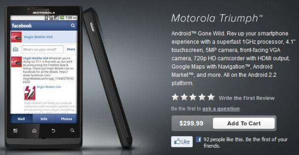 Motorola Triumph ascends to Virgin Mobile, can be yours for $300