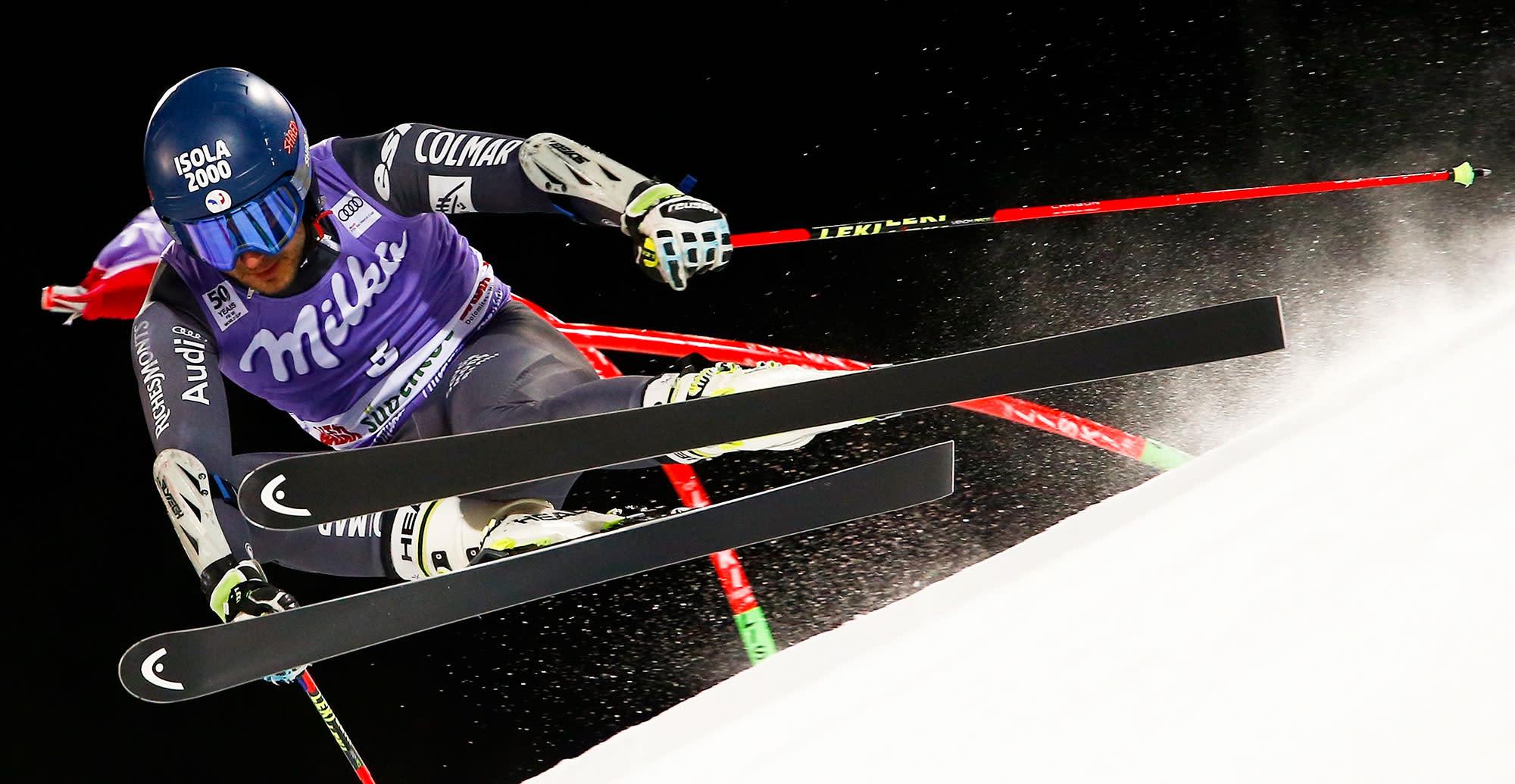 <p>France's Mathieu Faivre competes during an alpine ski, men's World Cup parallel giant slalom, in Alta Badia, Italy, Monday, Dec. 19, 2016. (Photo: Gabriele Facciotti/AP) </p>