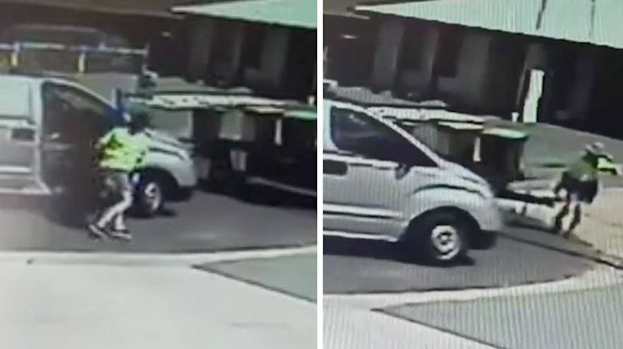 Postie's awkward run-in with trailer caught on camera