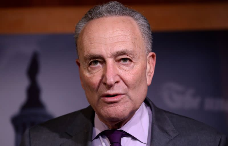 U.S. Senate Minority Leader Chuck Schumer addresses news conference on Capitol Hill in Washington