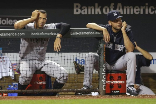 Alex Rodriguez (left) and Derek Jeter came close to being in a bidding war for the Miami Marlins. (AP)