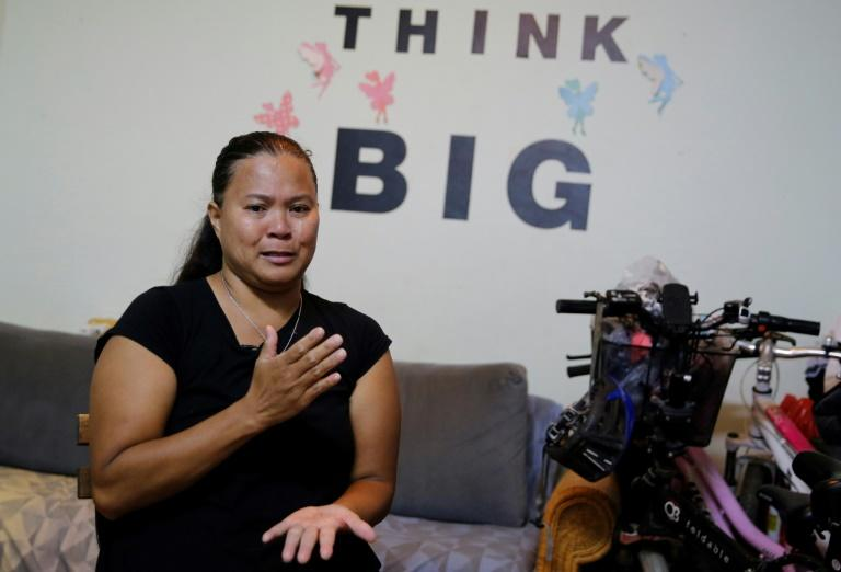 Ramela Noel says she faced a heartbreaking choice after giving birth: either leave Israel or send her child to the Philippines (AFP Photo/Gil COHEN-MAGEN)