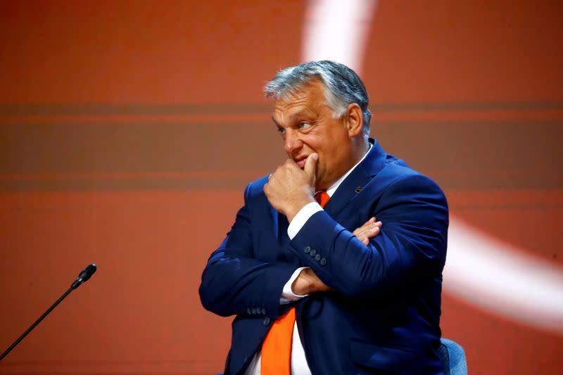 FILE PHOTO: Hungarian Prime Minister Viktor Orban reacts at Bled Strategic Forum, in Bled