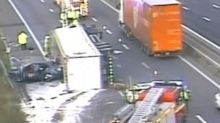 Flour lorry tips its load on to M5