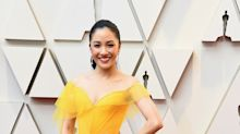 Constance Wu Channels Belle in a Yellow Tulle Versace Gown at the 2019 Oscars
