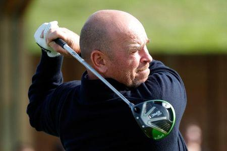 European Ryder Cup captain Thomas Bjorn takes part in a golf exhibitionat France's Golf National where the Ryder Cup 2018 tournament will be held at Saint-Quentin-en Yvelines, France