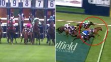 Jockey's lucky escape as riderless horse gallops to victory