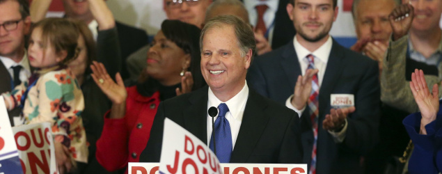 Doug Jones speaks to supporters in Birmingham, Ala. (AP)