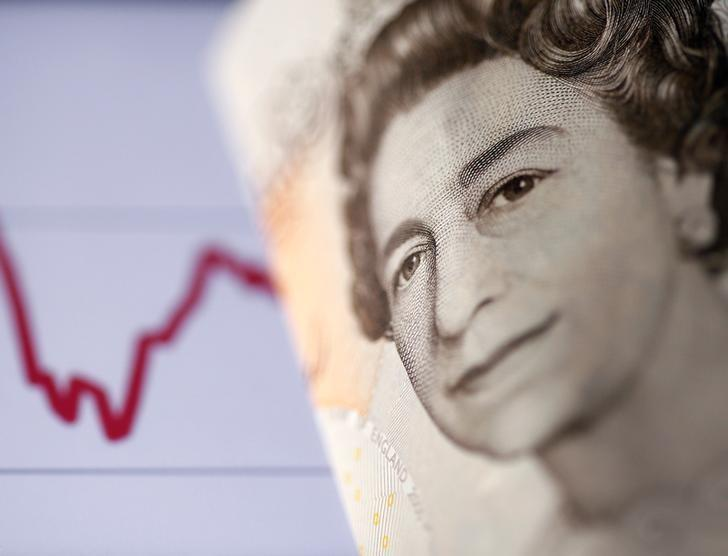A British ten pound note is seen in front of a stock graph in this picture illustration