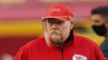 Fans had plenty of jokes about Andy Reid's foggy face shield