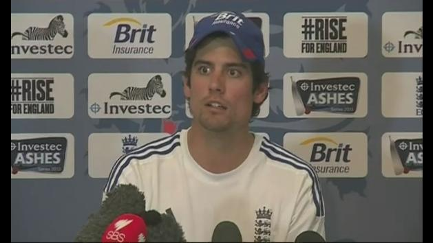 Girl faints during Alastair Cook press conference
