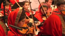 All-female Afghan orchestra practice Davos performance