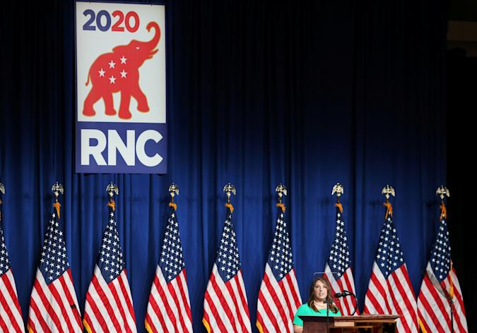 RNC Chairwoman Ronna Romney McDaniel speaks to delegates in the Charlotte Convention Center's Richardson Ballroom in Charlotte, where delegates have gathered for the roll call vote to renominate Donald J. Trump to be President of the United States and Mike Pence to be Vice President, in Charlotte, North Carolina, U.S., August 24, 2020. Travis Dove/Pool via REUTERS