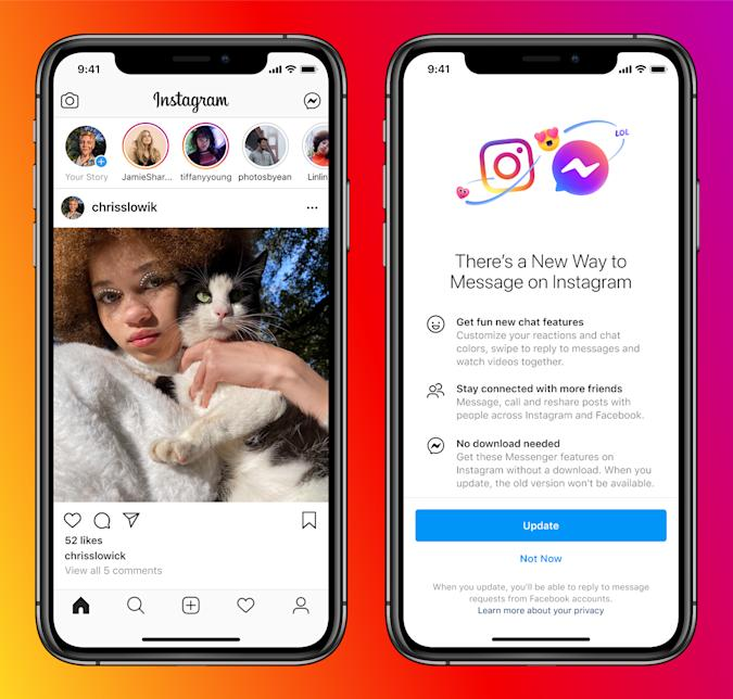 Instagram and Facebook will allow users to chat between Instagram and Messenger.