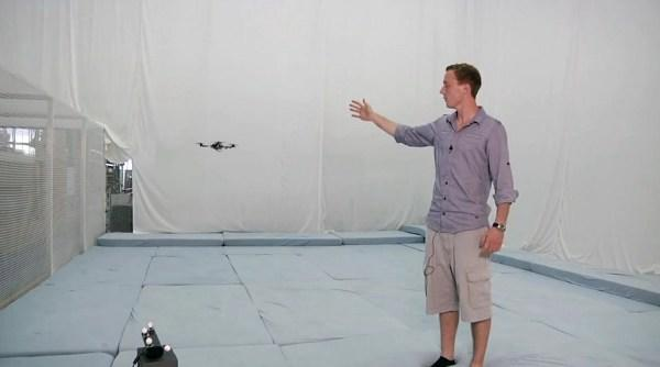 Quadrocopters reined in by Kinect leash, we feel safer already