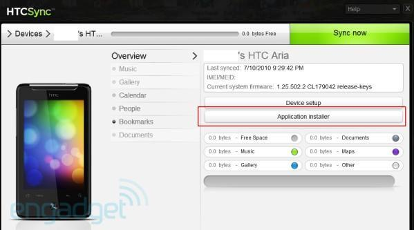 HTC pulls sideload-capable Sync app for AT&T's Aria