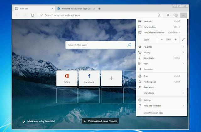 Microsoft's reworked Edge browser is available to try on Windows 7