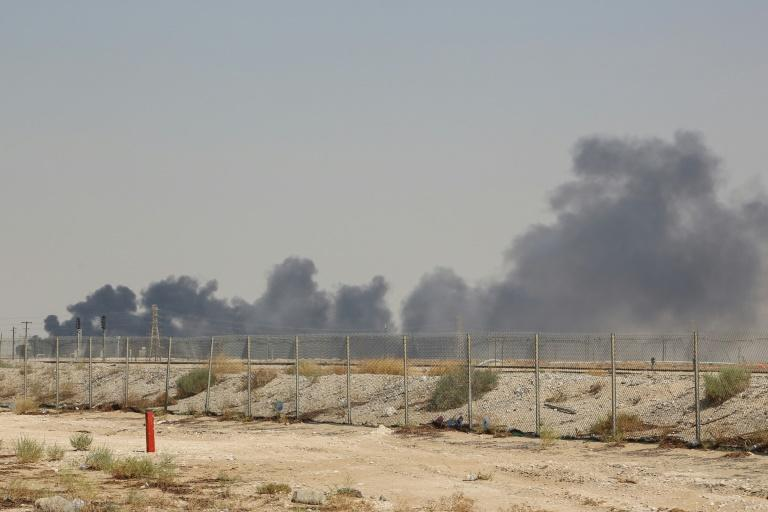 Smoke billows from Saudi oil giant Aramco's huge Abqaiq processing plant following a Saturday attack that Iran insists was carried out by Yemeni rebels