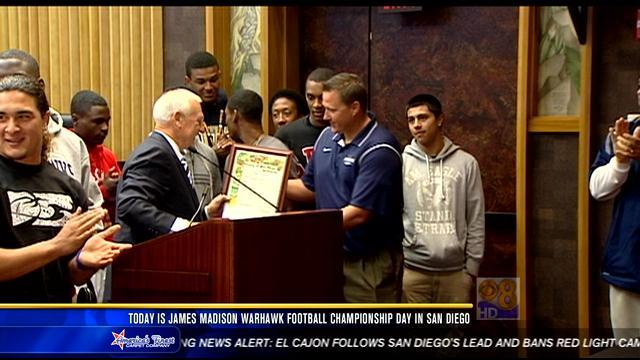Tuesday declared James Madison Warhawk Football Championship Day in San Diego