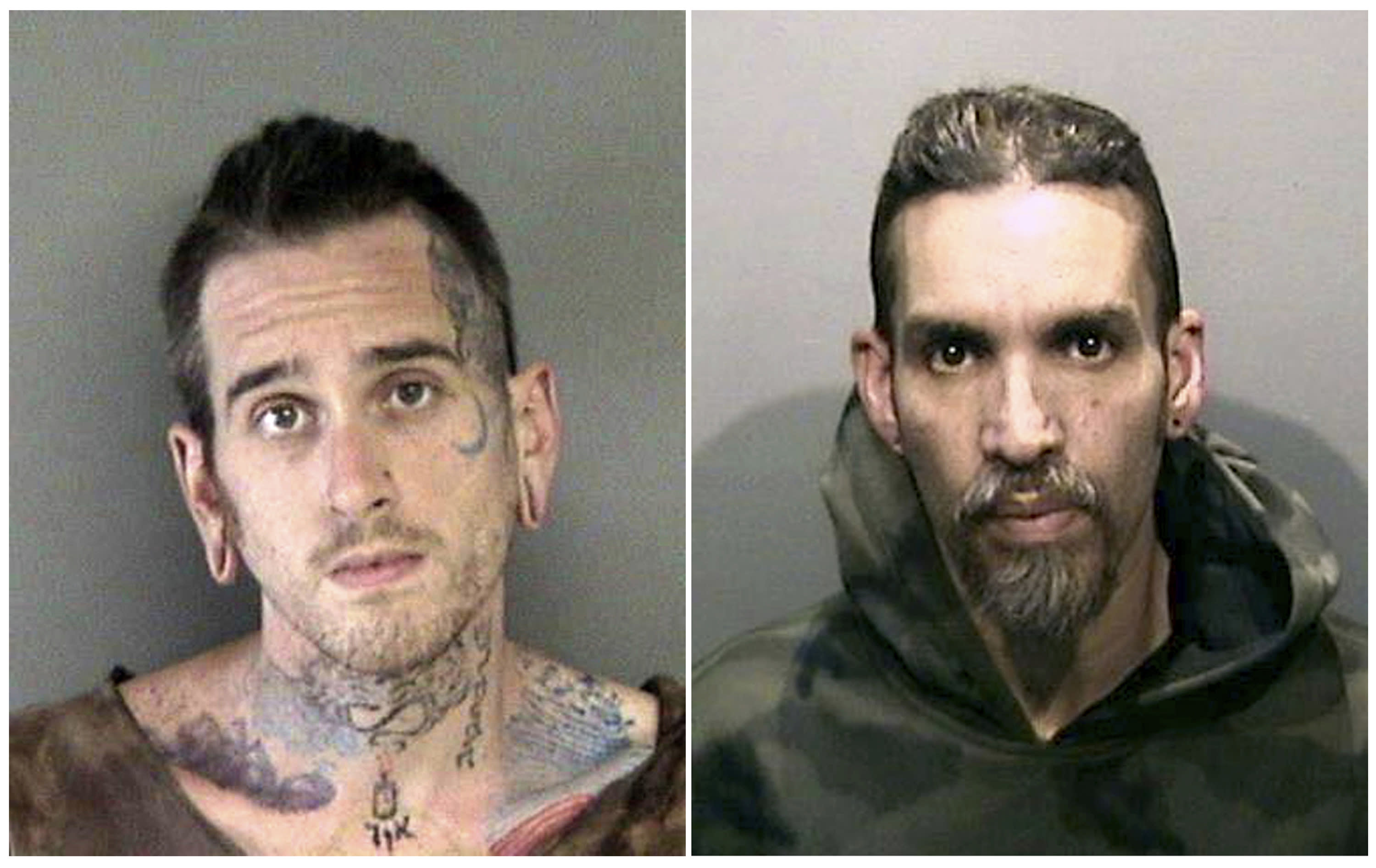FILE - This combination of June 2017 file booking photos provided by the Alameda County Sheriff's Office shows Max Harris, left, and Derick Almena, at Santa Rita Jail in Alameda County, Calif. A judge will hear a motion asking the court to uphold a plea bargain that was reached with the two men accused of being responsible for a warehouse fire that killed two dozen people at an unlicensed party. (Alameda County Sheriff's Office via AP, File)