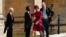 Kate Middleton stuns in a bold berry-hued dress for Princess Eugenie's wedding